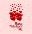 valentines day card with hearts pink background vector image