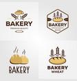 vintage bakery logo set design vector image vector image