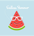 watermelon slice smiling with glasses and texting vector image vector image