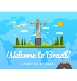 Welcome to Brazil poster with famous attraction vector image vector image
