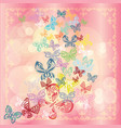 butterfly set isolated on pink background vector image