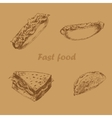Fast food hand drawn set brown vector image