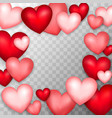 many hearts transparent background vector image
