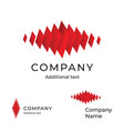 abstract red isometric rectangular wave logo vector image vector image