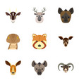 animal icon set flat style vector image
