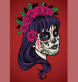 beautiful woman wearing sugar skull make up vector image