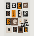 beer menu typographical vintage grunge poster vector image vector image