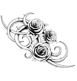 black and white roses tattoo vector image