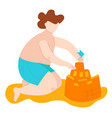 body positive fat kid in swimsuits on sea builds vector image vector image