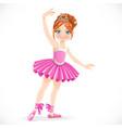 cartoon ballerina girl in pink dress dancing on a vector image