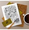 Cartoon doodles Autumn corporate identity set vector image