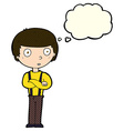 cartoon staring boy with folded arms with thought vector image vector image