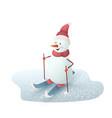 christmas snowman on skis vector image vector image