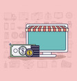 computer with parasol and ecommerce icons vector image vector image