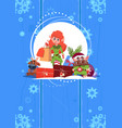 cute elf on happy new year greeting card merry vector image vector image
