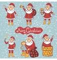 Doodle santa claus set vector image