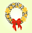 Easter wreath with pussy willow and Daffodil vector image