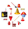 Fire department icons set cartoon style