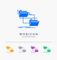 folder file management move copy 5 color glyph vector image vector image