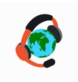 Globe with headphones icon isometric 3d style vector image