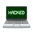 hacked laptop computer vector image