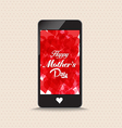 Happy mothers day with hearts red color phone vector image vector image
