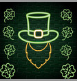 hat with beard and clovers neon label vector image vector image