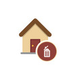 house with trashcan inside flat ar icon vector image vector image