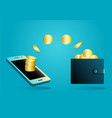 money transfer from wallet into mobile phone vector image