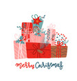 mountain gifts for christmas and new year vector image vector image