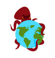 octopus and earth poulpe monster and planet vector image