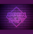 open 24 7 hours neon light on brick wall 24 hours vector image