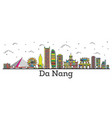 outline da nang vietnam city skyline with color vector image vector image