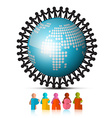 People Holding Hands Around Globe and Peace Paper vector image vector image