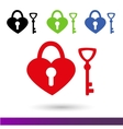 Set color icons Wedding lock of happiness vector image