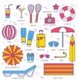 Summer vacation thin line icons collection set vector image