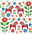 swedish dala horse pattern creative texture for vector image vector image