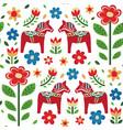 swedish dala horse pattern creative texture vector image vector image