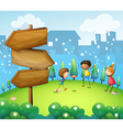 Three kids playing in the hill with wooden vector | Price: 1 Credit (USD $1)