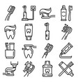 toothbrush icon set outline style vector image