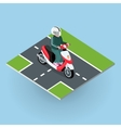 touring moped motor bike on road vector image vector image
