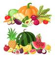 vegetables and fruits cartoon vegetarian food vector image