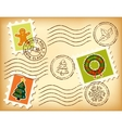 Vintage Christmas postage set on old paper vector image vector image