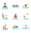 water sports icons set flat style vector image vector image