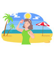 woman on vacation taking selfie on smartphone vector image vector image