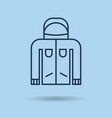 blue linear icon - winter sportswear - jacket vector image