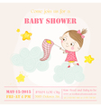 Baby Girl Catching Stars on a Cloud - Baby Shower vector image