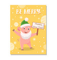 be merry greetings from cartoon pig in green hat vector image vector image