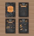beer menu set design for restaurant cafe pub vector image