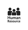 black simple human resource logo vector image vector image